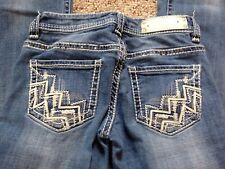 Rock & Roll Womens 24x34 Jeans Cowgirl Riding Denim Jeans Embroidered #14