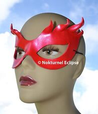 Red Superhero Leather Mask Halloween Carnival Cosplay Masquerade Costume Flames