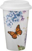 NEW Lenox Butterfly Meadow Ceramic Thermal Travel Mug Butterflies and Hydrangeas