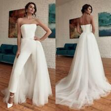 Jumpsuit Wedding Dress Detachable Train Strapless Bridal Backless Wedding Gown