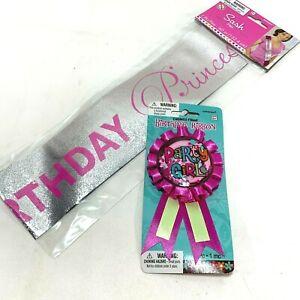 Pink Party Girl Pin Ribbon Birthday Princess Sash Celebration 18th 21st 50th