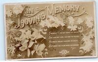 *In Loving Memory Hood Verse Poem old vintage Postcard B54