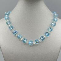 "1950's Unsigned Pastel Blue Aurora Borealis Bead Necklace 15"""