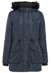 NEW LADIES WOMEN'S Padded Faux Fur Trim Parka UK size 6
