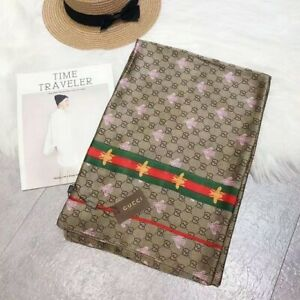 GUCCI SCARF WRAP CLASSCI SILK WITH GG LOGO AUTHENTIC BROWN BEE