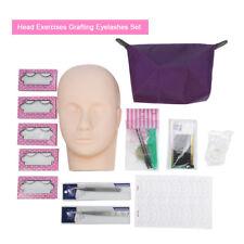 10 Eyelash Extensions False Strip Lash Mannequin Head Glue 2D-3D Practice Kit