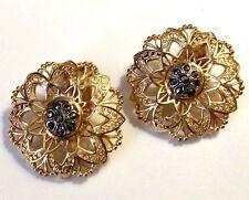 Germany Hallmark Gold Sterling Silver Marcasite Filigree Flower Clip On Earring