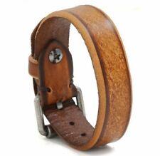 "MEN/ Women Vintage Brown Genuine Leather Wristband/ Leather Bracelet 7""-8.5"""