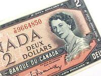 1954 Canada 2 Dollar Circulated TR Beattie Rasminsky Banknote Two R304