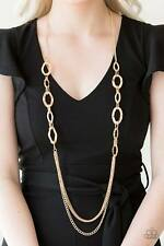 Paparazzi jewelry hammered gold rings mismatched gold chains Necklace & Earrings