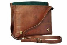 "13""New Men's Brown Leather Full Flap Messenger Rare Satchel Shoulder Bag"