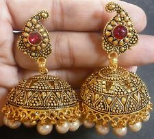 South Indian 22K Gold Plated Chand Bali Jhumka Jhumki Drop Party Earrings Set d