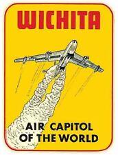 Wichita KS  Kansas    Vintage Style 1950's  Travel Decal Bumper Sticker