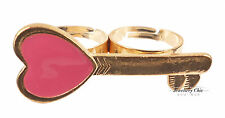 Vintage Gold Valentines Love Heart Pink KEY Costume Jewellery Double Finger Ring