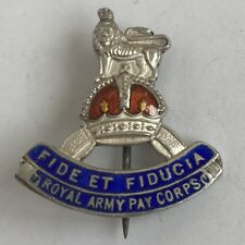 Solid Silver Royal Army Pay Corps Sweetheart Brooch Badge Enamel