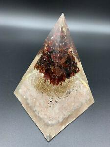Orgonit Pyramide Rosenquarz Roter Rubin Blume des Lebens Chakra XL 634