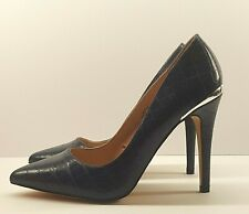 Gallery Ladies Shoes UK 5 Stiletto Heels Blue Crock Leather Silver Heel Trim