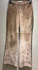 Margaret Godfrey Women's Size 8 Jeans Genuine Leather Tan Flat Front Wide Legs