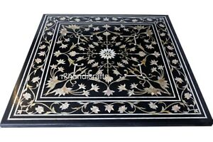 24 Inches Black Marble Coffee Table Top Inlay Center Table with Mother of Pearl