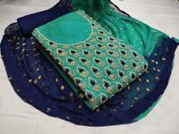 Wadding Salwar Kameez Indian Pakistani Shalwar Dress Chanderi Moti Work Suit Hf5