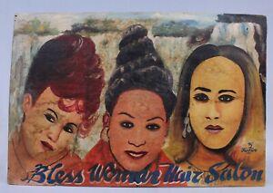Art Africain - Tableau de Coiffeur Ghanéen Ghana - Barber Shop - 52 x 35 Cms +++