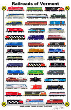 "Railroads of Vermont 11""x17"" Railroad Poster by Andy Fletcher signed"