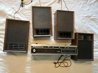 Vtg Montgomery Ward Airline AM/FM Stereo Receiver Tuner/8 track w/speakers-WORKS