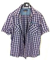 Duck and Cover Size XL Blue Pink Checked Short Sleeve Shirt