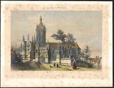 1850 Lithographie aquarellée Eglise de Saint-Thégonnec Finistère Bretagne