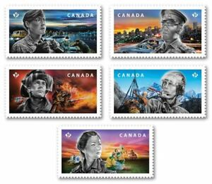 """ALL 5 """"P"""" ISSUES 📭 MNH from Book 👨✈️ 2018 CANADA 👨🚒 EMERGENCY RESPONDERS"""