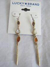 Lucky Brand gold tone tiger eye~white~orange stone drop earrings, NWT