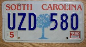 SINGLE SOUTH CAROLINA LICENSE PLATE - 1990 - UZD 580
