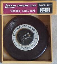 "OGGETTISTICA Metro Lufkin Chrome Clad 50 Ft 12 ""Anchor"" Steel Tape Made USA"