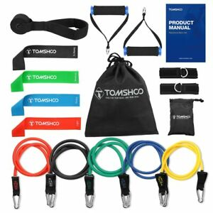 TOMSHOO 17Pcs Resistance Bands Set Fitness Rubber Band Yoga Gym Exercise