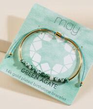 Gold Plated Green Agate Birthstone Bracelet