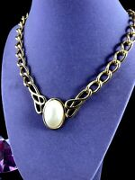 SIGNED NAPIER GOLDTONE CHAIN LINK NECKLACE FAUX PEARL DOMED CABOCHON PENDANT