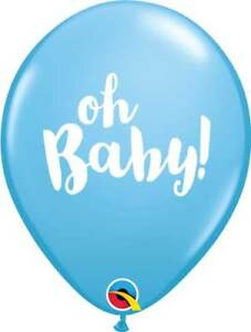 """10 pc 11"""" Oh Baby Boy Script Latex Balloon Party Decoration Shower Welcome Blue"""