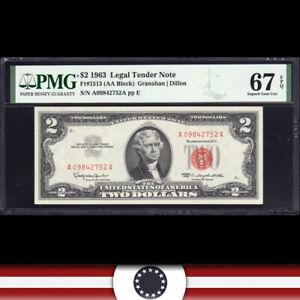1963 $2 LEGAL TENDER *RED SEAL* PMG 67 EPQ Fr 1513  A09842752A