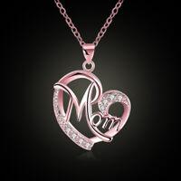 Damen Halskette Zirkonia Herz-Anhänger mit Strass Herz MOM Geschenk für Mutter