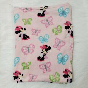 Disney Baby Blanket Minnie Mouse Butterfly Blanket Pink Fleece Security B62