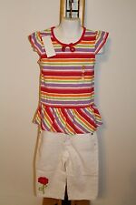 Gymboree Pretty Posies Girls Size 6 Stripe Top Shirt NWT Capri White Jeans NEW