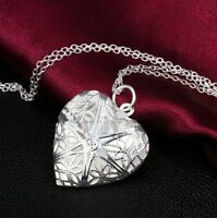 Heart Lover Hollow Locket Silver Chain Pendant Photo Necklace Valentine Gift JT3
