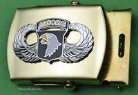 101st Airborne Army Jump Wing black Web Belt &  brass buckle