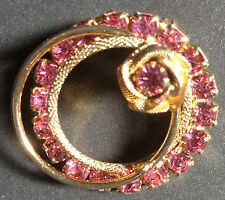 Vintage Gold-tone Pink Rhinestone Prong Set Circle Pin - Brooch
