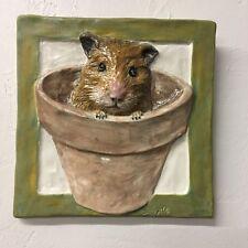Hamster Gerbil Rodent Ceramic Handmade 3-d tile Portrait In Stock Alexander Art