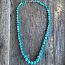 Vintage Miriam Haskell Teal Single Strand 1950s-1970s Necklace