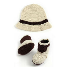 Crochet newborn photography Props Western Cowboy baby Hat And Shoes Set K5Y9