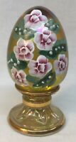 Fenton Glass Hand Painted Pink Flowers On Gold Carnival Egg LIMITED EDITION