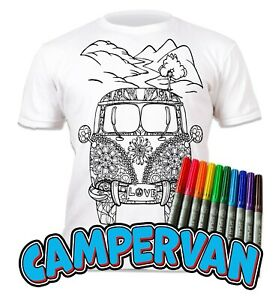 Splat Planet Colour-in Campervan T-Shirt 10 Magic Pens-Colour-in and Wash Out