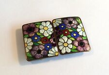 Attractive 1930s Art Deco 2-part enamelled buckle w flowers